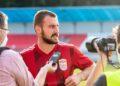 Miladin Vujošević hodnotí zápas, v ktorom hral výborne a v ktorom strelil 2 góly.   Foto: Samo Telúch, Športová agentúra DUKLA
