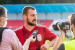 Miladin Vujošević hodnotí zápas, v ktorom hral výborne a v ktorom strelil 2 góly. | Foto: Samo Telúch, Športová agentúra DUKLA