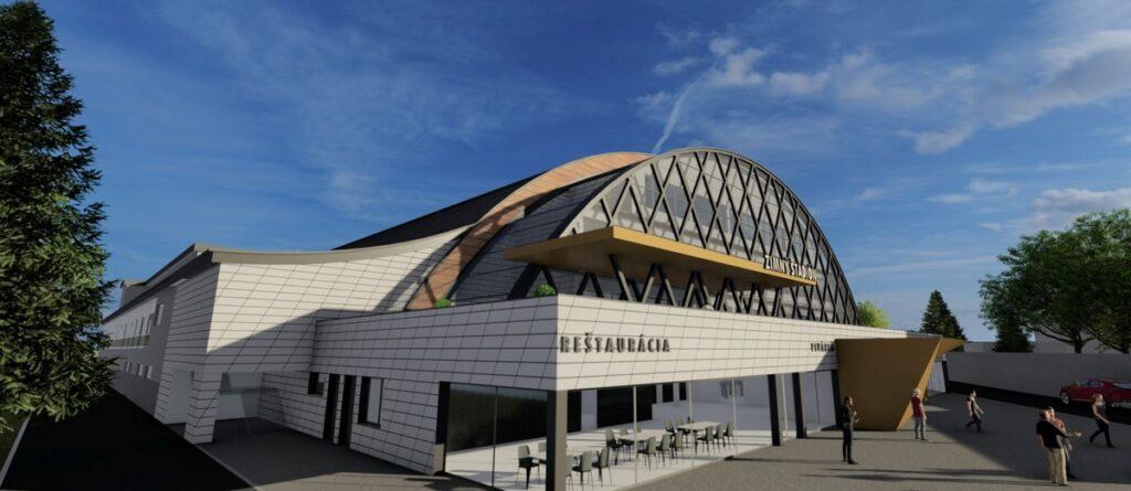 Zimný štadión Banská Bystrica - vizualizácia, pohľad od rieky Hron