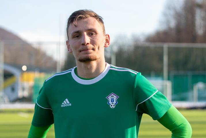 Brankár Dubnice Denis Chudý po zápase s Dubnicou dňa 20. februára 2021