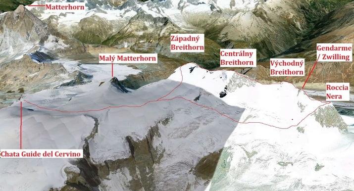 Breithorn - mapa cesty